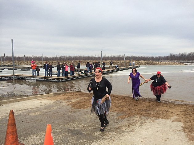 Photo/Hannibal Parks & Rec<br />Annie Massie from the Eugene Field Elementary School's team called Shiver Me Timbers, participates in the Polar Plunge Saturday at the Hannibal riverfront.